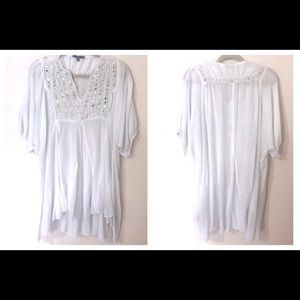 White Mirrored Large Flowy Swim Cover Up